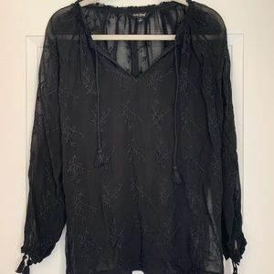 Lucky Brand Sheer Embroidered Peasant Top